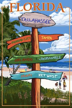 Tallahassee, Florida - Destinations Signpost by Lantern Press