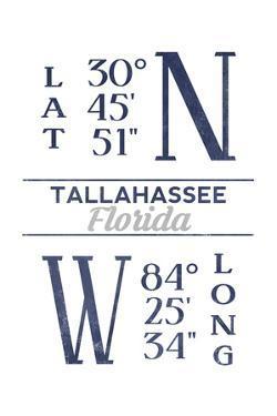 Tallahassee, Florida - Latitude and Longitude (Blue) by Lantern Press