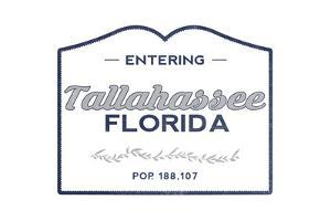 Tallahassee, Florida - Now Entering (Blue) by Lantern Press
