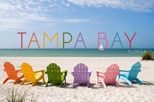 Tampa Bay, Florida - Colorful Beach Chairs by Lantern Press