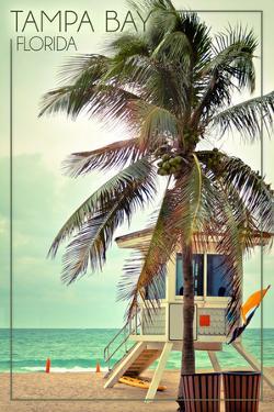 Tampa Bay, Florida - Lifeguard Shack and Palm by Lantern Press