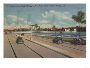 Tampa, FL - View of Bayshore Blvd, Bridge, Davis Is. by Lantern Press