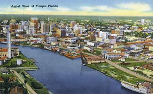 Tampa, Florida - Aerial View of the City by Lantern Press