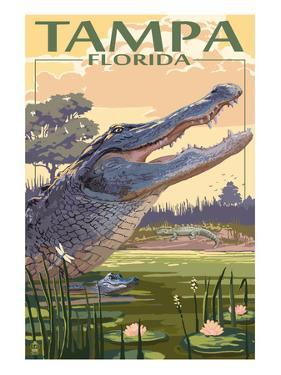 Tampa, Florida - Alligator Scene by Lantern Press