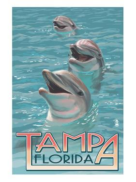 Tampa, Florida - Dolphins by Lantern Press