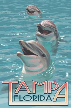 Tampa, Florida - Dolphins by Lantern Press