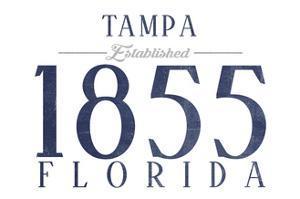 Tampa, Florida - Established Date (Blue) by Lantern Press