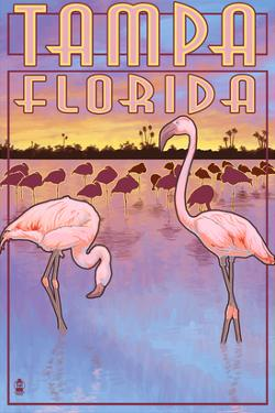 Tampa, Florida - Flamingos by Lantern Press