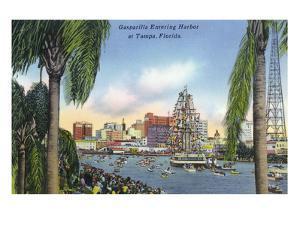 Tampa, Florida - Gasparilla Entering the Harbor Scene by Lantern Press