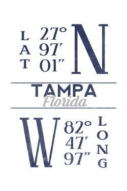 Tampa, Florida - Latitude and Longitude (Blue) by Lantern Press