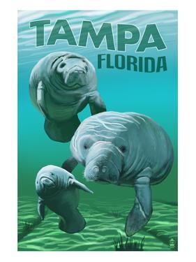Tampa, Florida - Manatees by Lantern Press