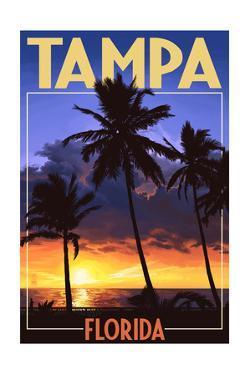 Tampa, Florida - Palms and Sunset by Lantern Press