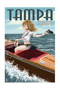 Tampa, Florida - Pinup Girl Boating by Lantern Press