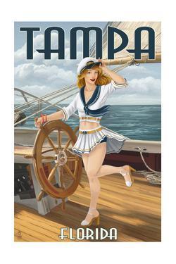 Tampa, Florida - Pinup Girl Sailing by Lantern Press