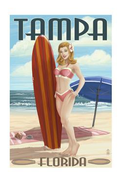 Tampa, Florida - Pinup Girl Surfing by Lantern Press