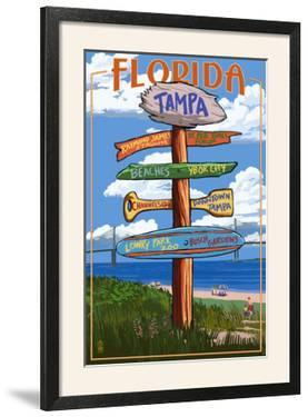 Tampa, Florida - Sign Destinations by Lantern Press