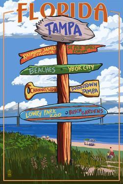 Tampa, Florida - Sign Destinations by Lantern Press
