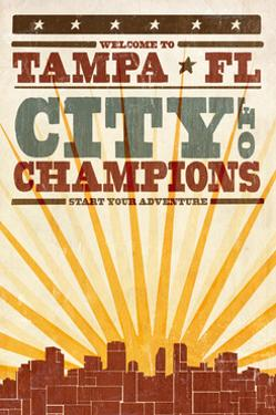Tampa, Florida - Skyline and Sunburst Screenprint Style by Lantern Press