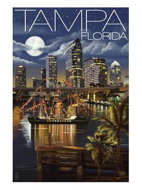 Tampa, Florida - Skyline at Night by Lantern Press