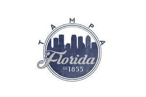 Tampa, Florida - Skyline Seal (Blue) by Lantern Press