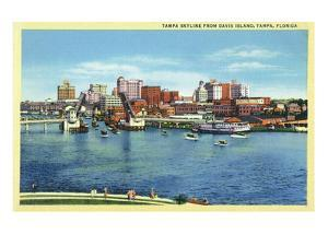 Tampa, Florida - Skyline View from Davis Island by Lantern Press