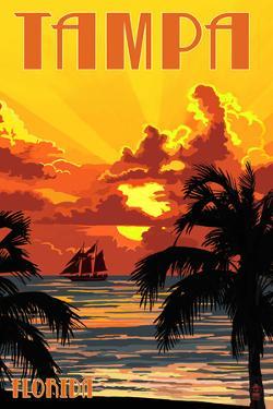 Tampa, Florida - Sunset and Ship by Lantern Press