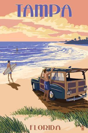 Tampa, Florida - Woody on the Beach by Lantern Press