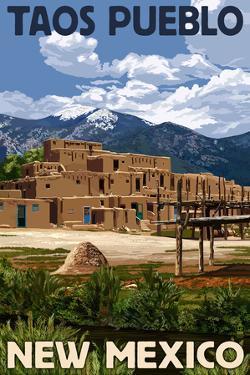Taos Pueblo, New Mexico - Ruins Scene by Lantern Press