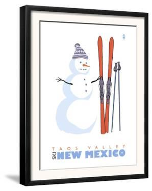 Taos Valley, New Mexico, Snowman with Skis by Lantern Press
