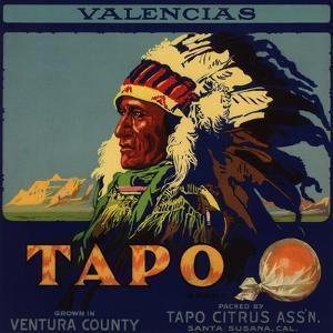 Tapo Brand - Santa Susana, California - Citrus Crate Label by Lantern Press
