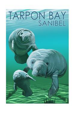 Tarpon Bay, Florida - Manatees Original Poster by Lantern Press