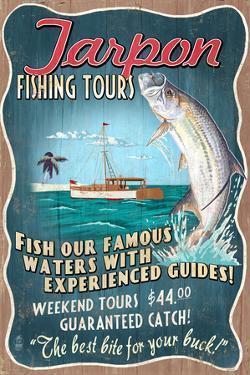 Tarpon Fishing Tours - Vintage Sign by Lantern Press