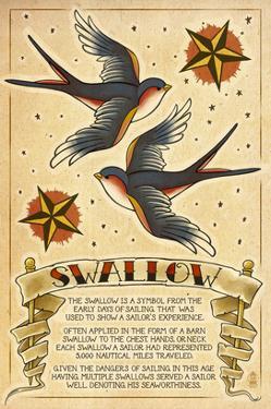 Tattoo Flash Sheet - Swallow by Lantern Press