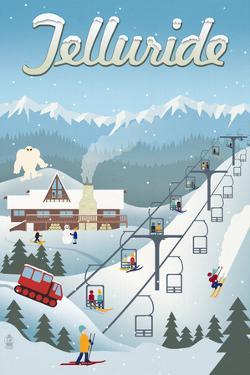 Telluride, Colorado - Retro Ski Resort by Lantern Press