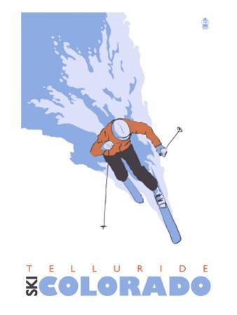 Telluride, Colorado, Stylized Skier by Lantern Press