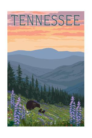 Tennessee - Bears and Spring Flowers by Lantern Press