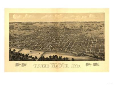 Terre Haute, Indiana - Panoramic Map by Lantern Press