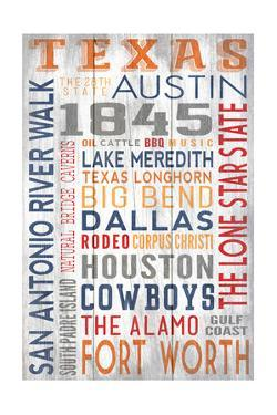 Texas - Barnwood Typography by Lantern Press