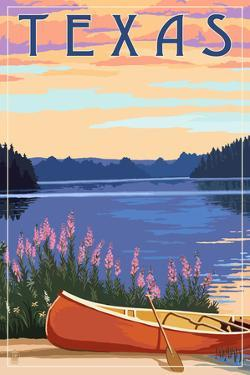 Texas - Canoe and Lake by Lantern Press