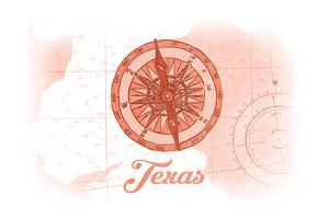 Texas - Compass - Coral - Coastal Icon by Lantern Press