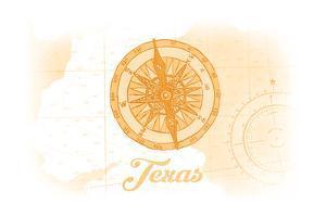 Texas - Compass - Yellow - Coastal Icon by Lantern Press
