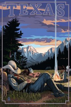 Texas - Cowboy Camping Night Scene by Lantern Press
