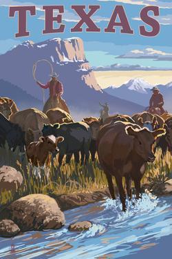 Texas - Cowboy Cattle Drive Scene by Lantern Press