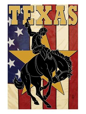 Texas - Cowboy with Bucking Bronco by Lantern Press