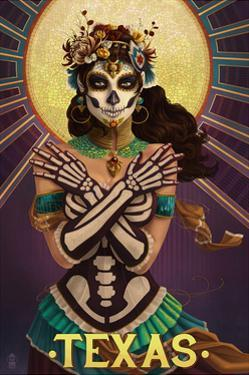 Texas - Day of the Dead Crossbones by Lantern Press