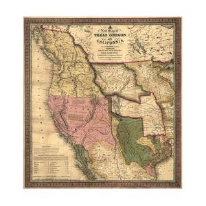Texas, Oregon, and California - Vintage Map by Lantern Press