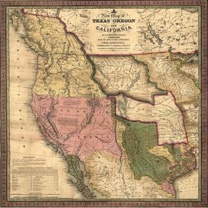 Texas, Oregon, and California - Vintage Map by Lantern Press