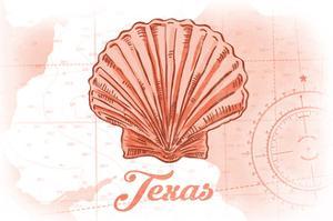 Texas - Scallop Shell - Coral - Coastal Icon by Lantern Press