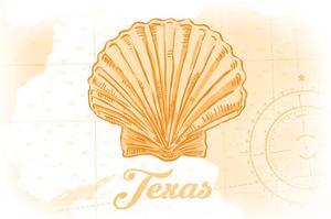 Texas - Scallop Shell - Yellow - Coastal Icon by Lantern Press