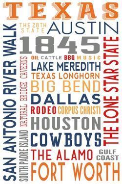 Texas - Typography by Lantern Press